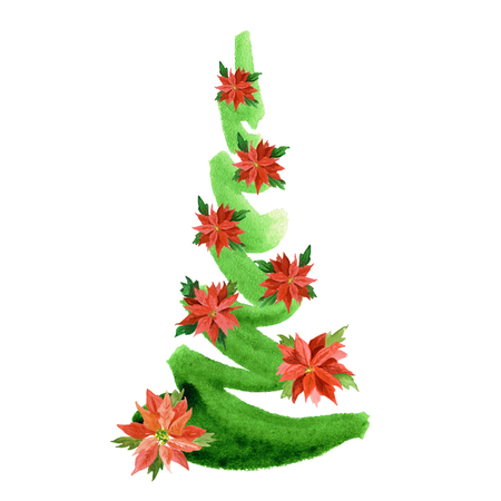 Watercolor hand painted new year tree with poinsettia flowers isolated on white