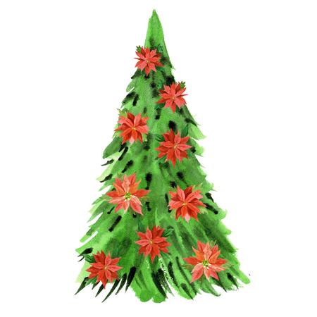 Watercolor new year tree with poinsettia flowers isolated on white