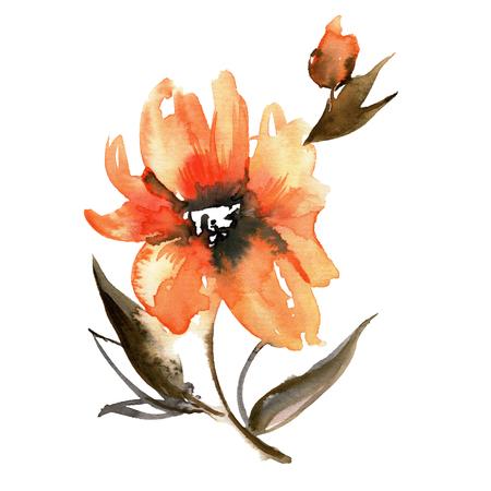 Cute watercolor hand painted orange flower. Invitation. Wedding card. Birthday card