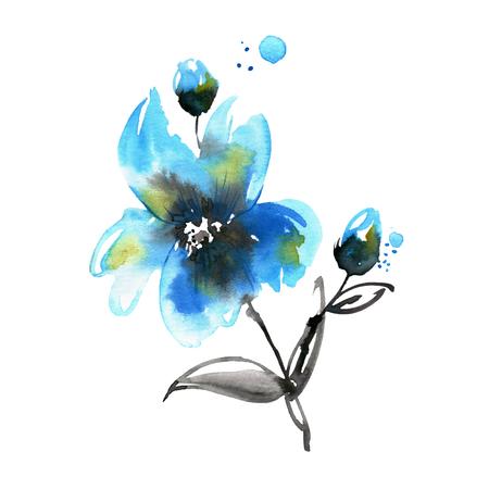 Cute watercolor hand painted flower.
