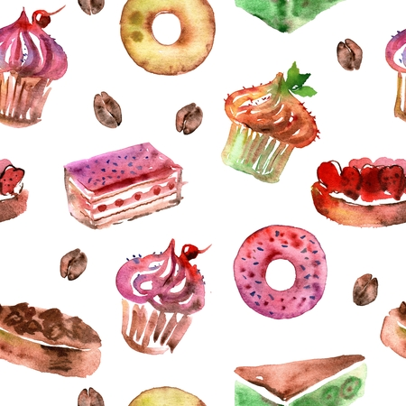Watercolor seamless pattern with deserts, cupcakes, donuts