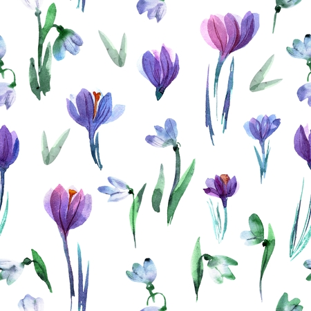 Hand painted seamless pattern with crocuses and snowdrops