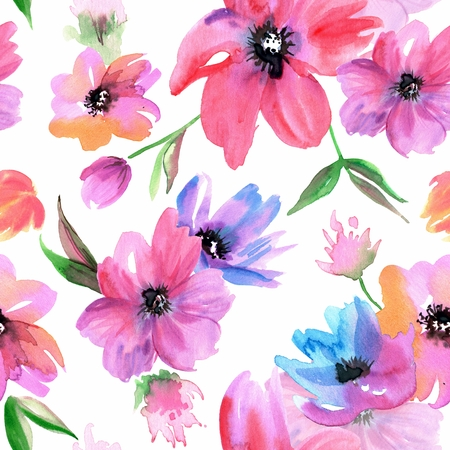 Watercolor hand painted seamless pattern with pink flowers Banco de Imagens