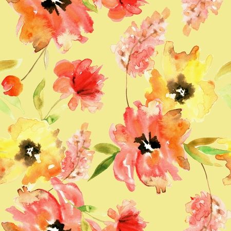 Watercolor hand painted seamless pattern with red and yellow flowers