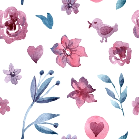 Watercolor hand painted seamless pattern with blue flowers Stockfoto
