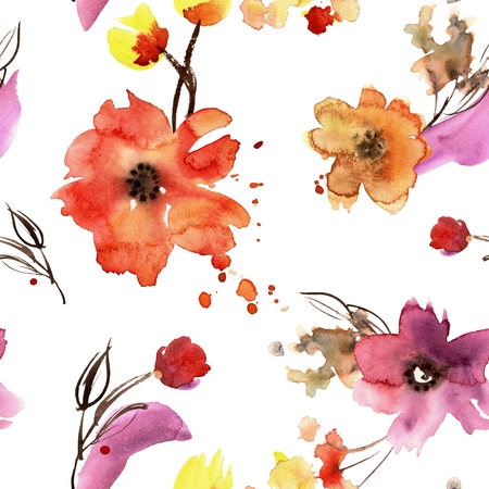 hand painted seamless pattern with orange flowers
