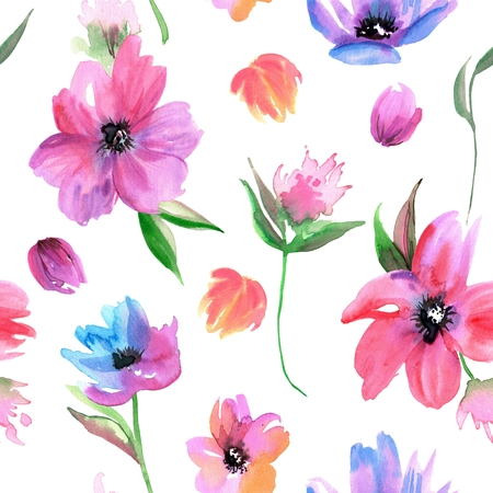 Watercolor hand painted seamless pattern with pink flowers Stockfoto