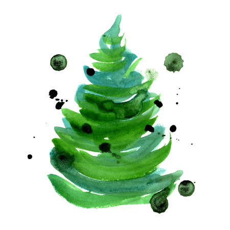 Watercolor hand painted new year tree isolated on white