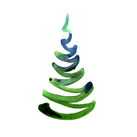 Abstract watercolor hand painted new year tree isolated on white Stockfoto