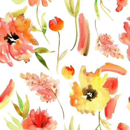 Watercolor hand painted seamless pattern with yellow flowers