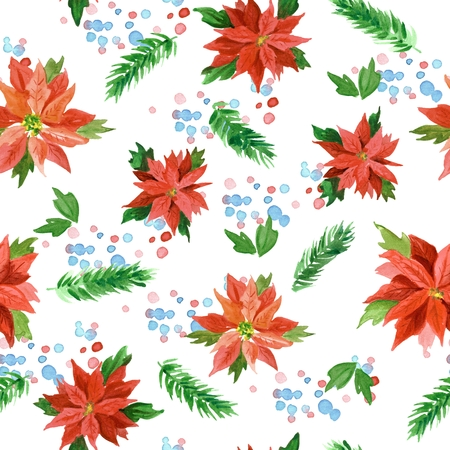 Watercolor seamless pattern with poisettia flowers and Christmas trees
