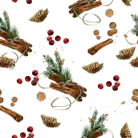 Watercolor hand painted winter seamless pattern with cinnamon, fir branches, fir cones and cranberry Stockfoto