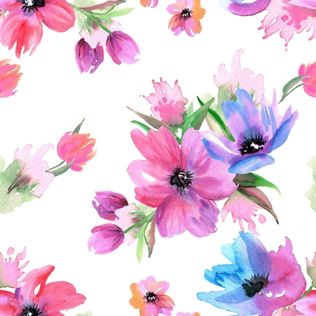 Seamless floral pattern with watercolor flower elements