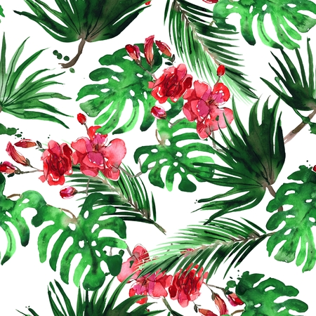 Watercolor hand painted tropical seamless pattern with palm leaves and monstera Stockfoto