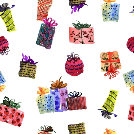 Watercolor hand painted seamless pattern with multicolor Christmas gift boxes