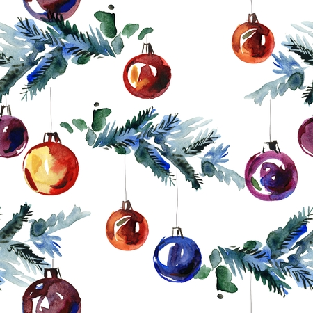 Watercolor hand painted seamless pattern with fir-tree branches and New Years balls