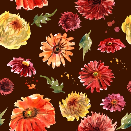 Watercolor seamless pattern with red and yellow gerberas and chrysanthemum on dark background Stockfoto