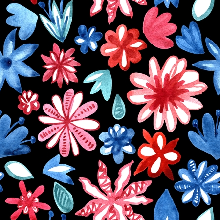 Watercolor hand painted seamless pattern with decorative red and blue flowers on black background