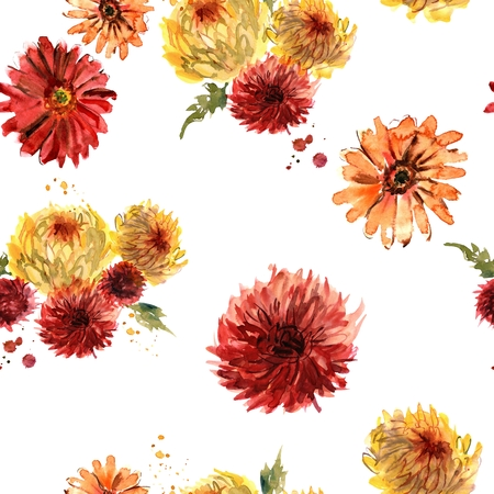 Watercolor seamless pattern with red and yellow gerberas and chrysanthemum