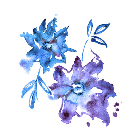 Cute watercolor hand painted blue winter flowers