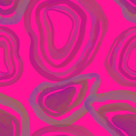 Watercolor hand painted abstract seamless pattern with circles on pink background Stockfoto