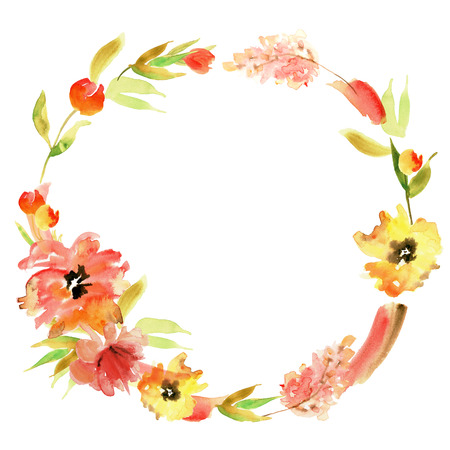 Cute watercolor hand painted wreath with red and yellow flowers. Invitation. Wedding card. Birthday card Stockfoto