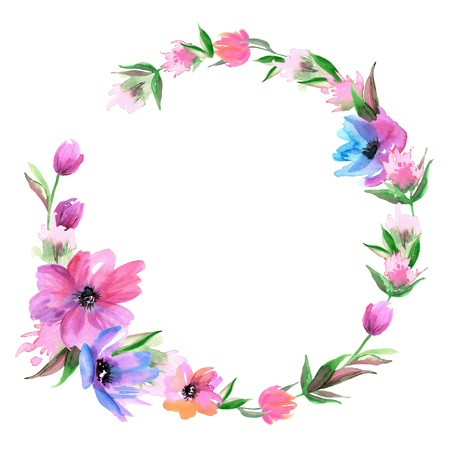 Leuke aquarel handgeschilderde krans met paarse bloemen. Uitnodiging. Trouwkaart. Verjaardagskaart Stockfoto