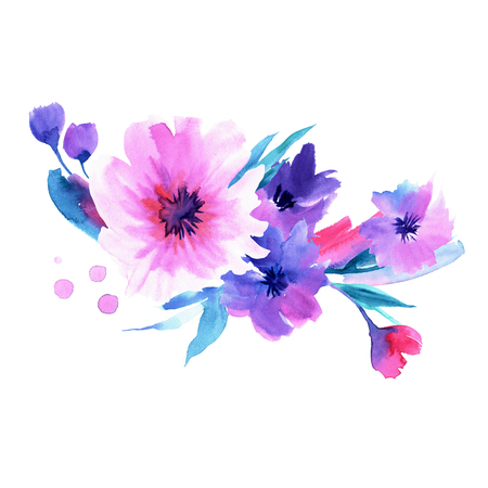Cute watercolor hand painted pink and blue flowers. Invitation. Wedding card. Birthday card Stockfoto