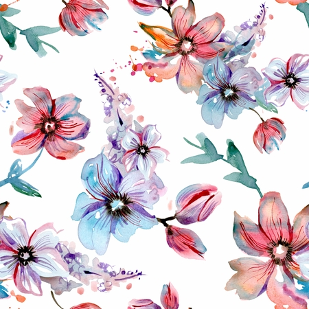 Watercolor hand painted seamless pattern with pink and blue flowers on a white background