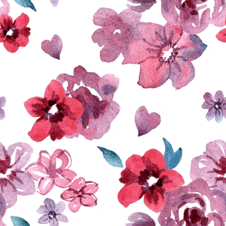 Watercolor hand painted seamless pattern with pink and red flowers on a white background