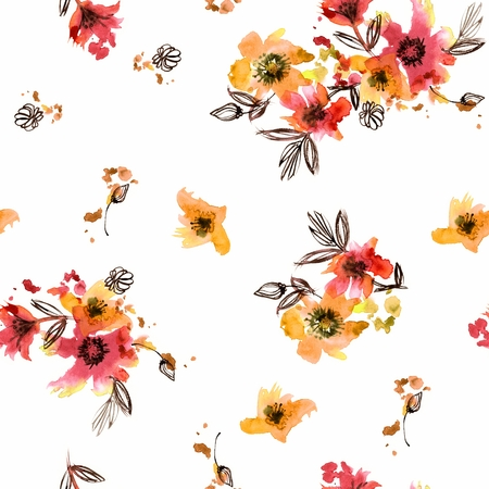Watercolor hand painted seamless pattern with red and yellow flowers on a white background Stockfoto