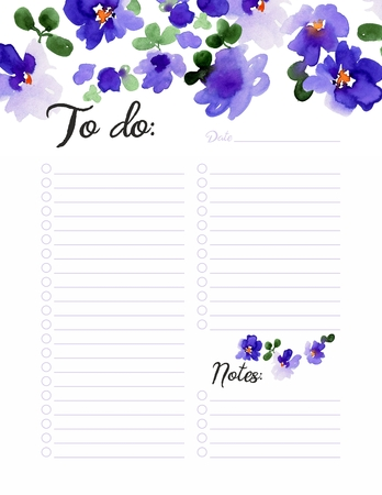 To Do list, daily planner witn purple watercolor flowers