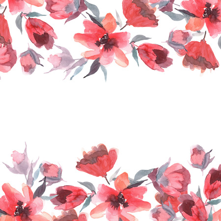 Watercolor background with pink flowers Stockfoto