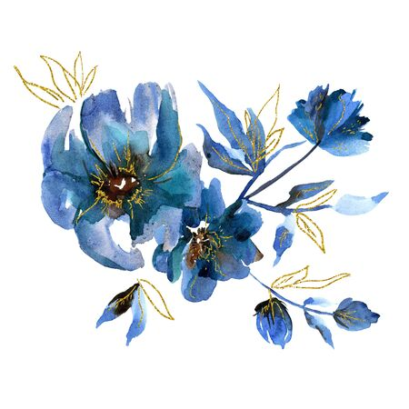 Cute watercolor hand painted blue flowers with golden leaf. Invitation. Wedding card. Birthday card.