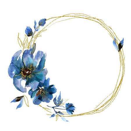 Watercolor floral wreath with blue flowers and golden leaf Stockfoto