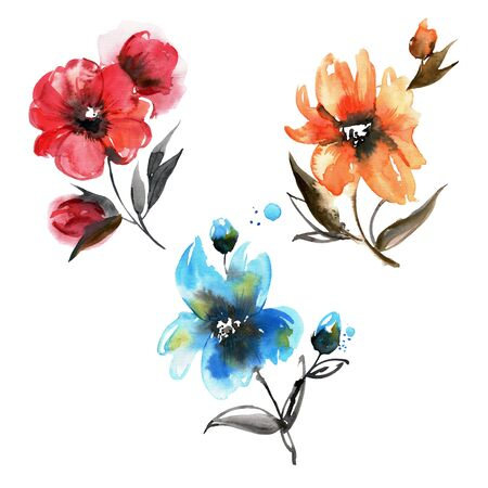 Cute watercolor hand painted red, blue and orange flowers. Elements for design