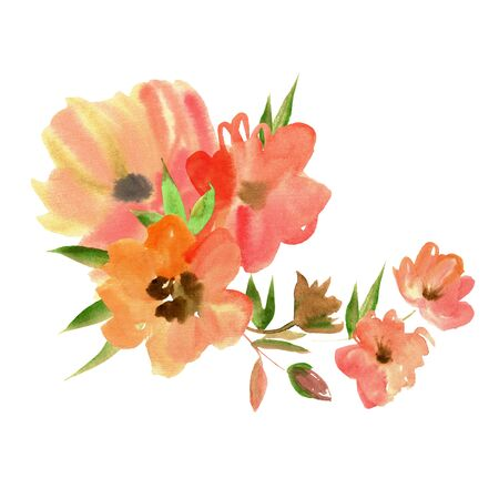 Cute watercolor hand painted flowers. Invitation. Birthday card Stockfoto