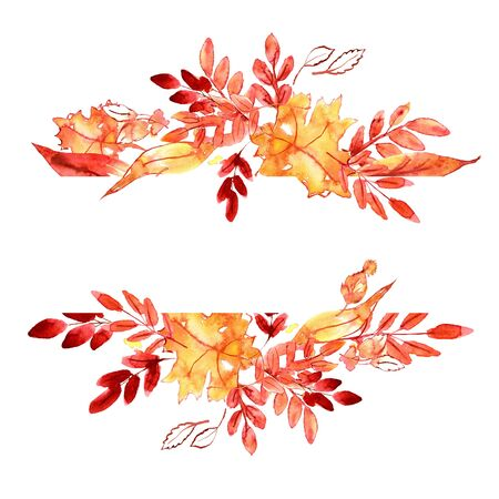 Watercolor hand painted orange and yellow autumn leaves. Background for design of back to school invitations and thanksgiving cards