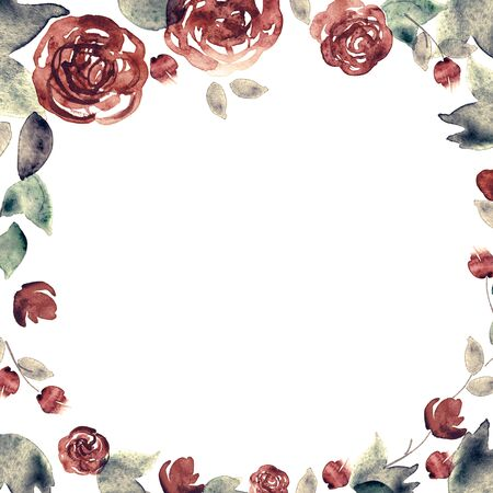 Watercolor hand painted floral background with roses