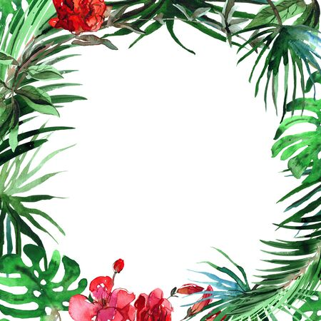 Watercolor hand painted floral background with tropical leaves