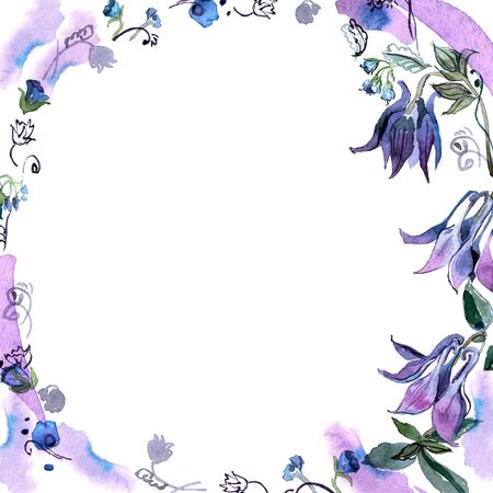 Watercolor hand painted floral background with bells