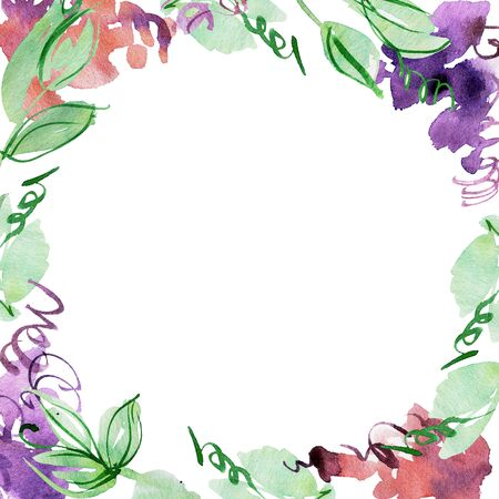 Watercolor hand painted floral background with lilac