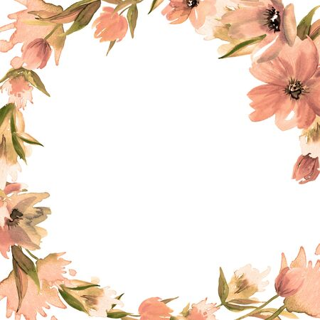 Watercolor hand painted floral background