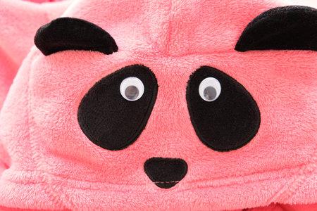baby pink plush panda pajamas 免版税图像