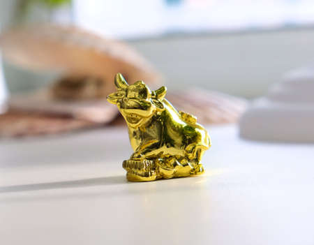 Figurine of a golden bull. The golden calf is a symbol of profit, power, money, wealth. zodiac symbol of 2021 year,