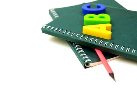Very shallow DOF. ABC letters alphabet on notepads. education and back to school concept. copy space Banque d'images