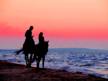 Black silhouettes in the twilight sunset light of horses and a girl with a man riders on the seashore, romantic date, couple in love Banque d'images