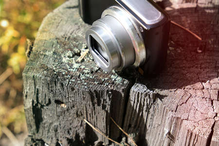 Lifestyle hiking, retro photo camera on old stump in the forest