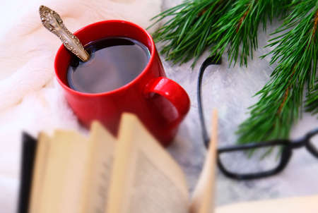Partially blurred. Holiday scene of red cup of hot coffee, book and natural branches of pine tree. Copy space