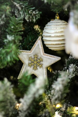 Christmas toy white star on the branch of the Christmas tree. Banco de Imagens
